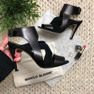 Manolo Blahnik Black Cage Stiletto Strappy Heels